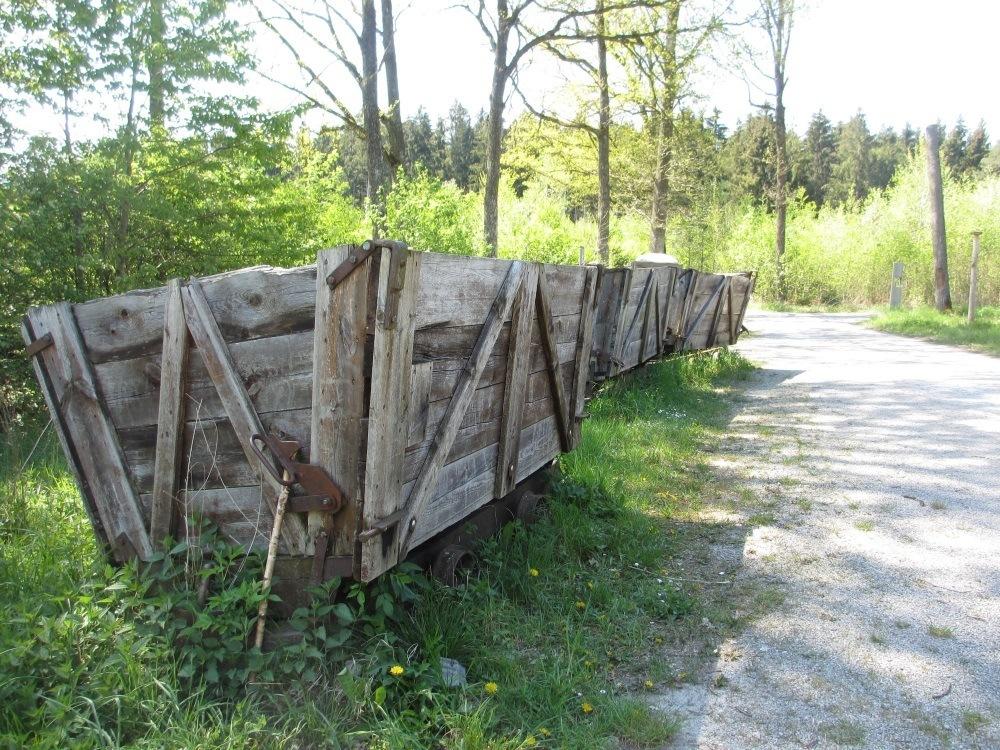 ehemalige kleine Bahnwaggons zum Abtransport des Torfes - Sterntaler Filze