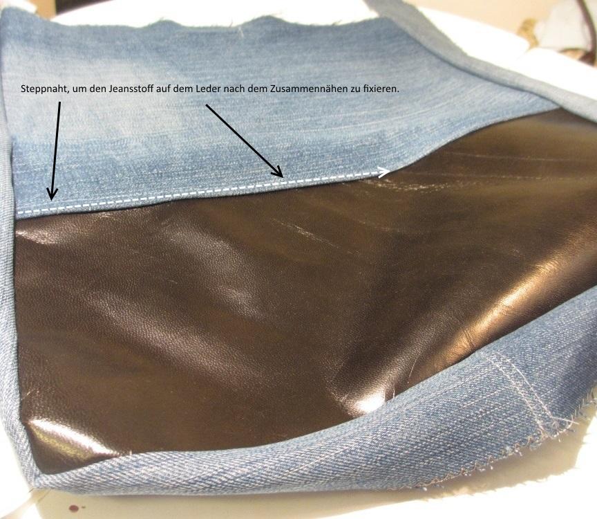 Steppnaht, um Jeans am Leder zu fixieren.