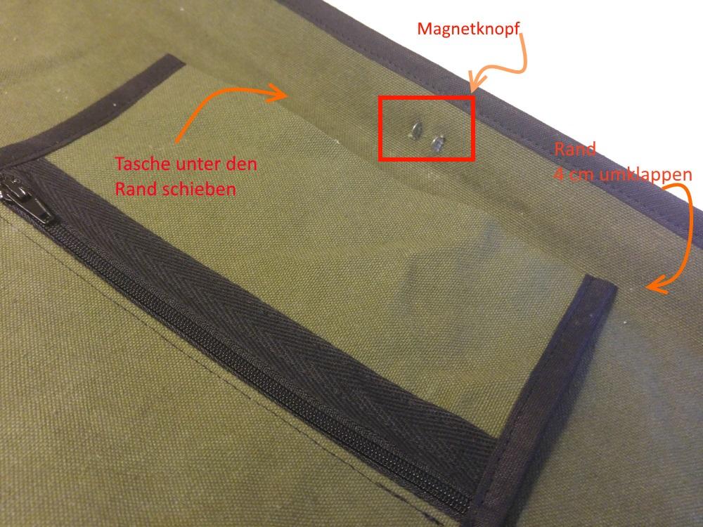 Der Magentknopf wird mittig etwas unterhalb des Randes eingesetzt