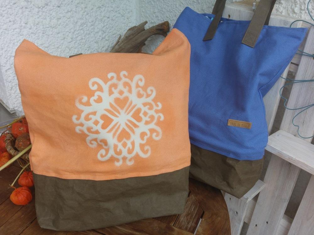 Fertige Sommertasche aus Canvas und Snappap
