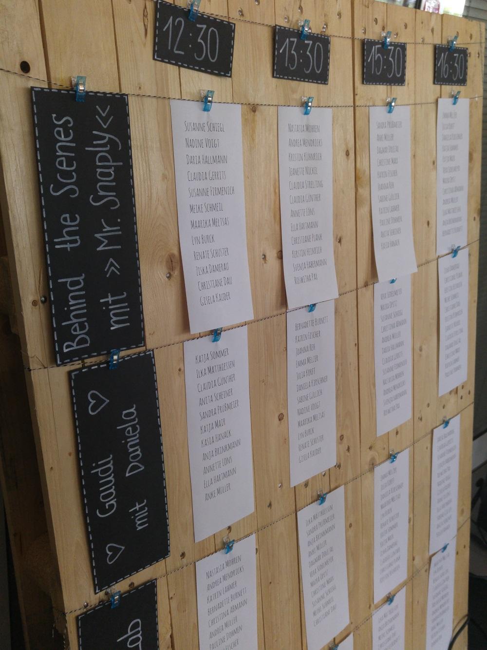 Tagesplan - wer ist wann wo beim Snaply-Event?