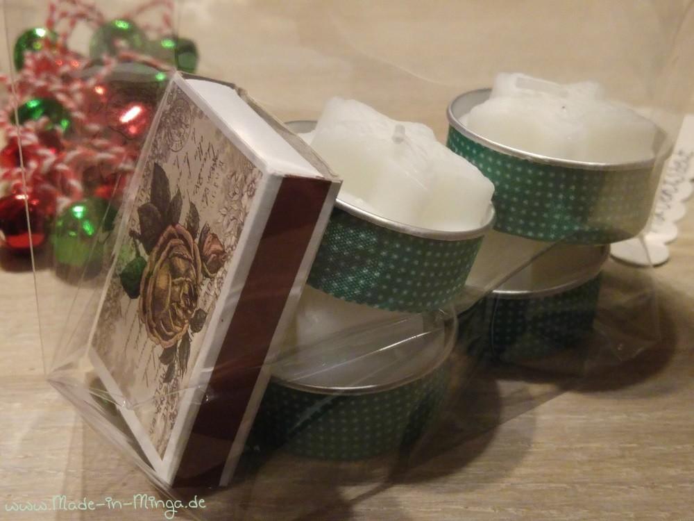 Teelichter und Streichhölzer schön in der tüte verpacken