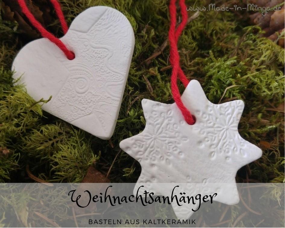 Weihnachtsanhänger aus Kaltkeramik basteln und stempeln