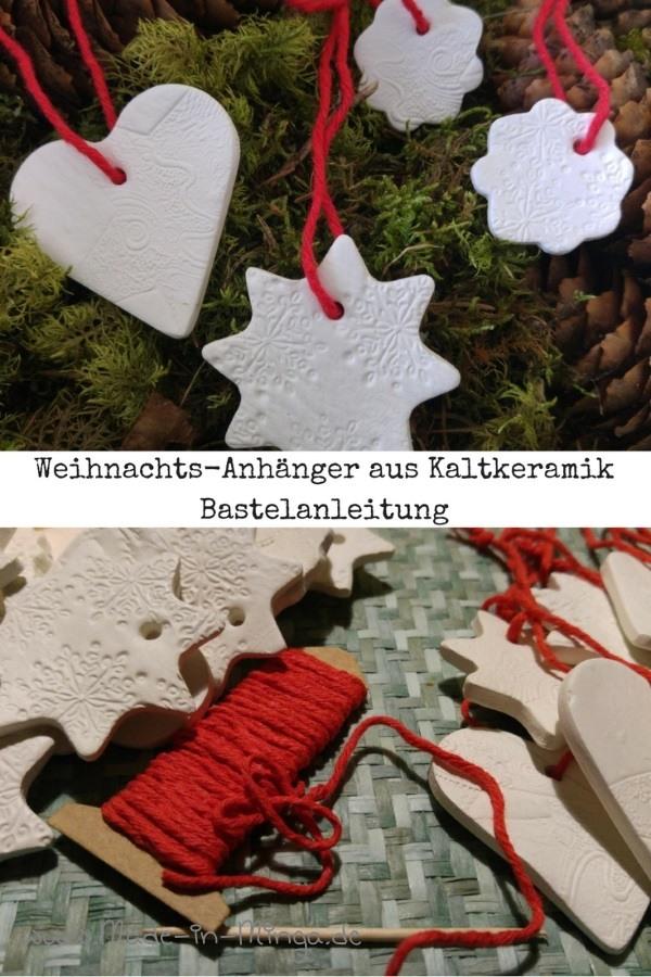 Weihnachtliche Anhänger aus Kaltkeramik ausstechen und stempeln