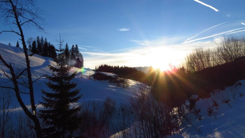 Sonnenuntergang beim Abstieg