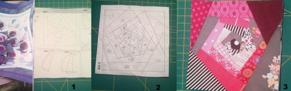 Von der Zeitung, zur Zeichnung zu echten Paper-Piecing Rose
