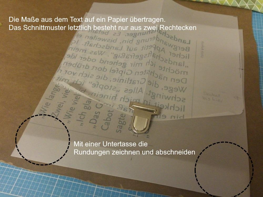 Schnittteile für die Snappap Tasche aus Papier vorbereiten