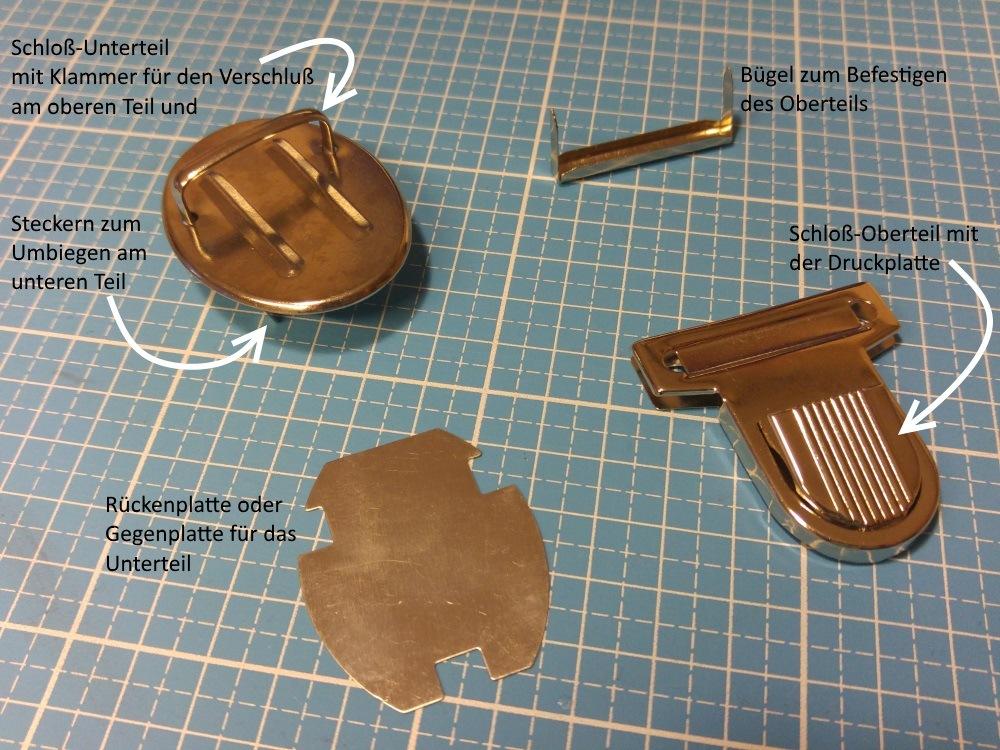 Die vier Einzelteile eines Steckschlosses- Mappenschlosses