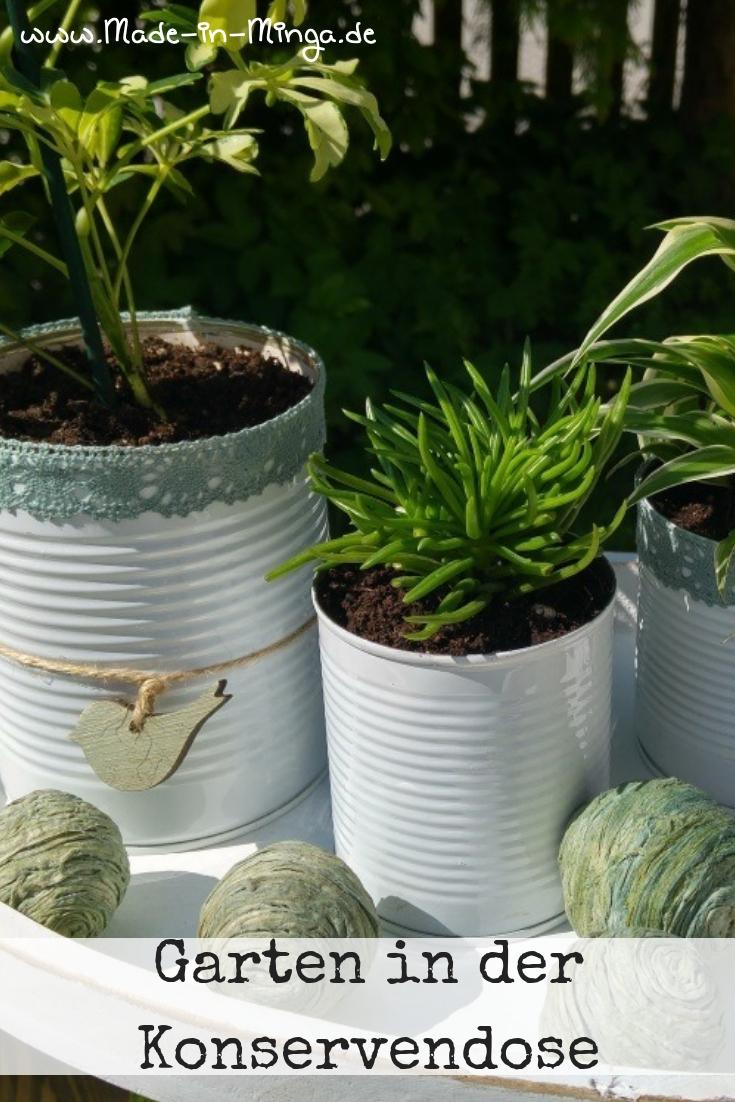 Garten in der Konservendose, Basteln mit Dosen