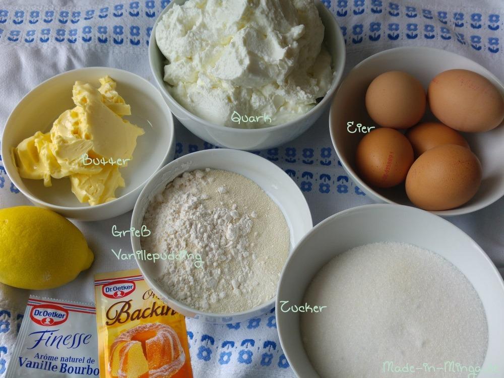 Zutatenüberblick für Käsekuchen
