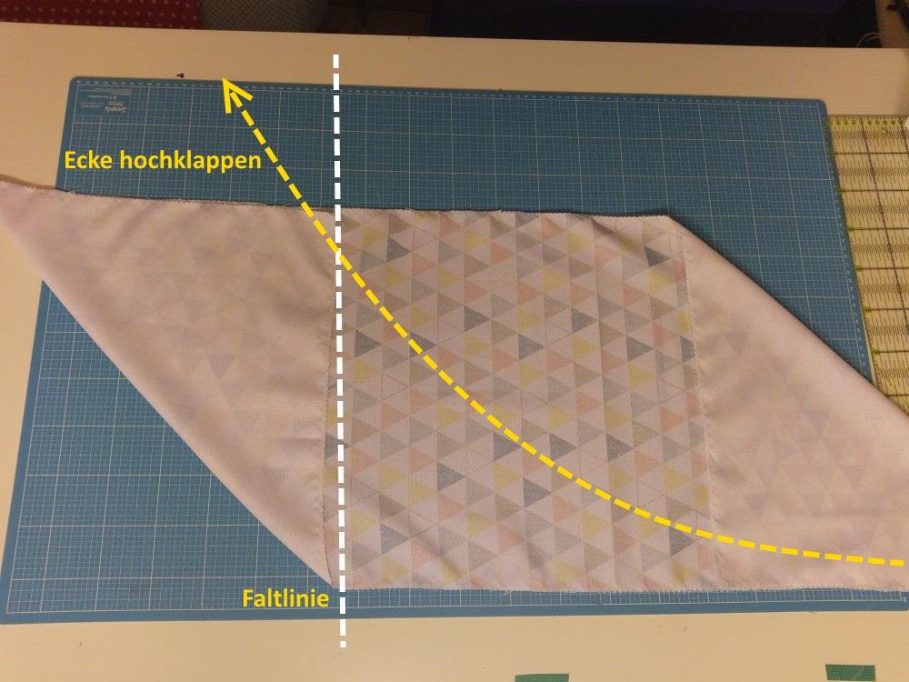 Ecken hochklappen und um die Origami Bag zu formen