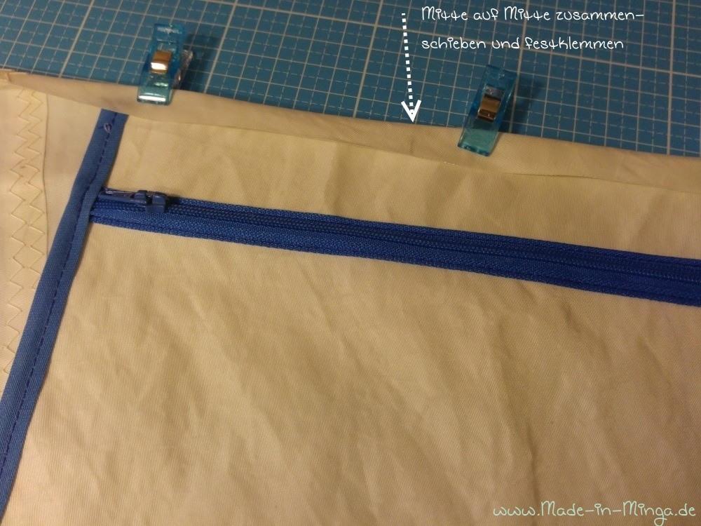 Das Segeltuch kann nur mit Klemmen fixiert werden. Stecknadel gehen nicht durch das Material