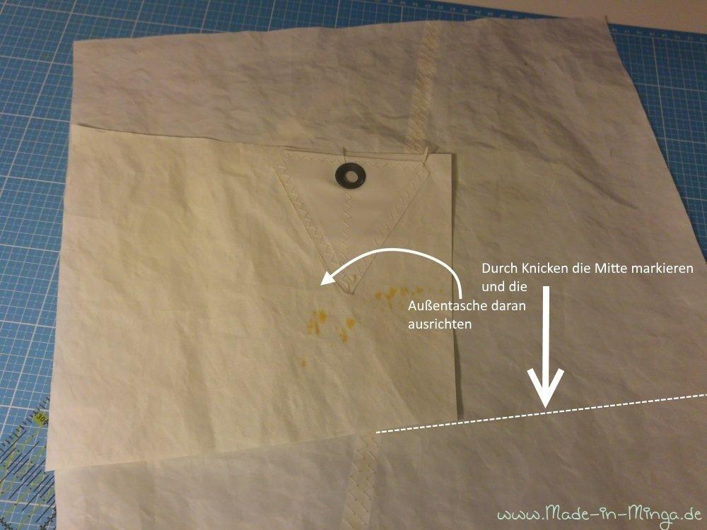 Segeltuch glatt ausbreiten und Mitte markieren. Außentasche ausrichten
