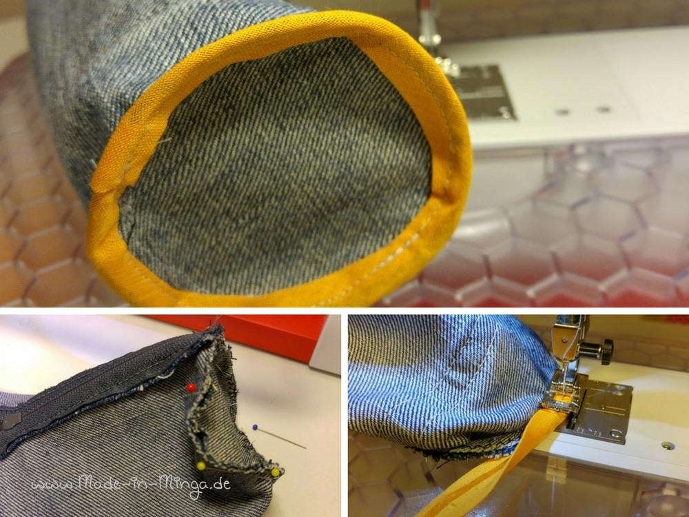 Das Mäppchen ist ohne Futter, die Nähte können mit Schrägband versäubert werden