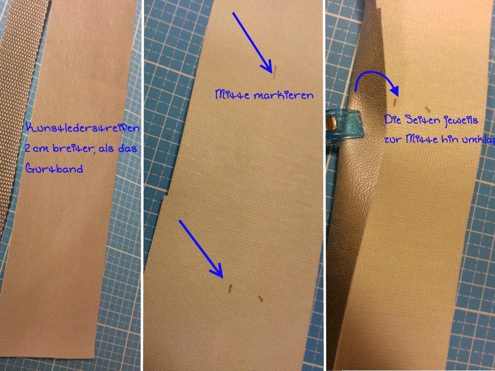 Das Gurtband mit einem weichen Stoff unterfüttern