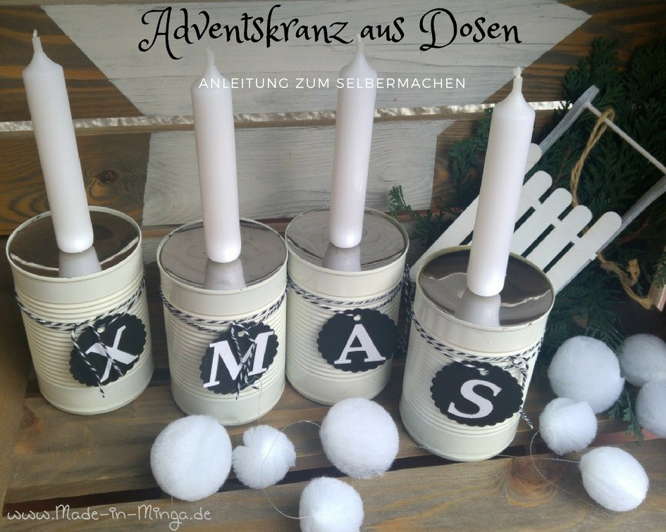 adventskranz aus dosen selbstgemacht. Black Bedroom Furniture Sets. Home Design Ideas