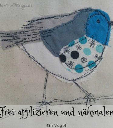nähmalen, ein kleiner Vogel aus Stoffresten