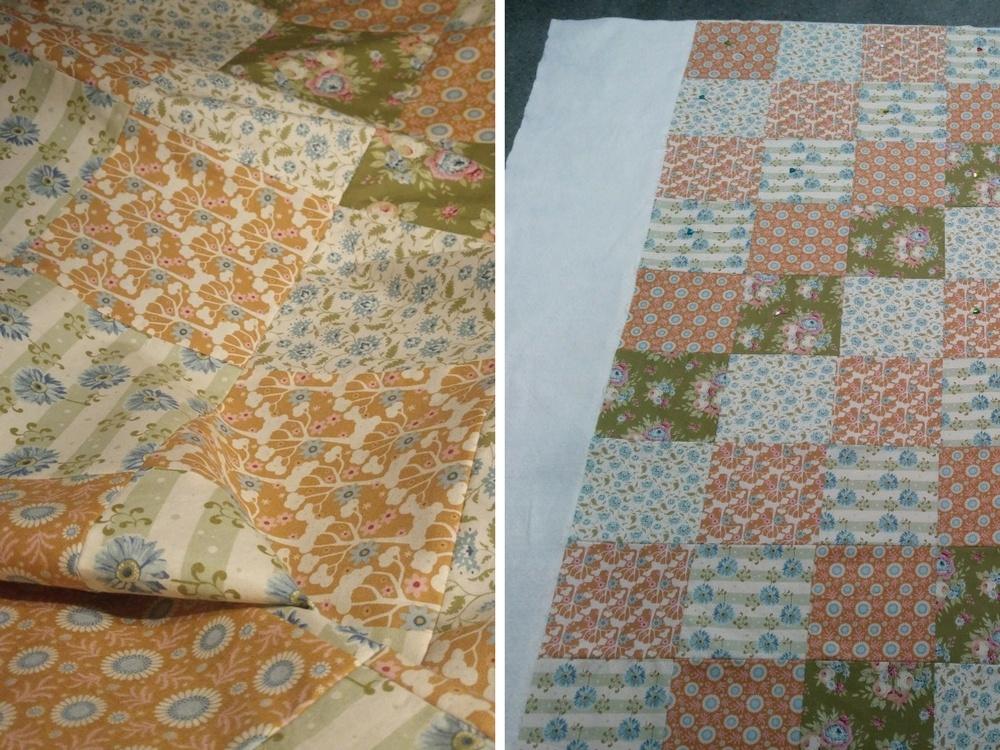 Alle Quadrate werden zusammengenäht. Ist die Decke fertig, wird sie auf das Vlies geheftet