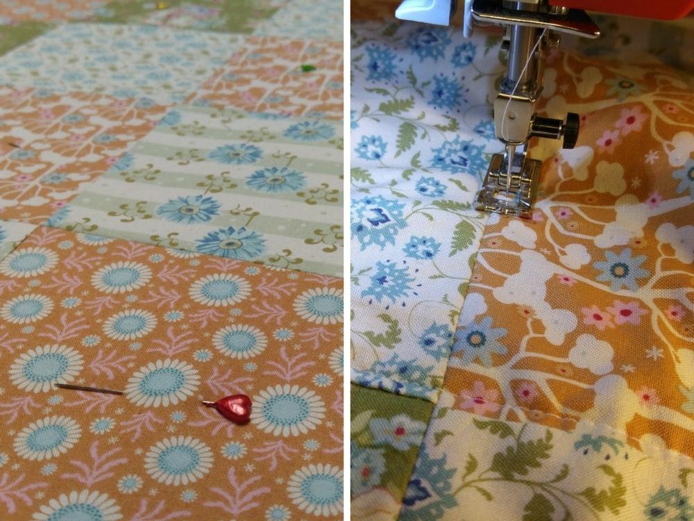 Die Decke dann sorgfältig auf das Vlies nähen - quilten
