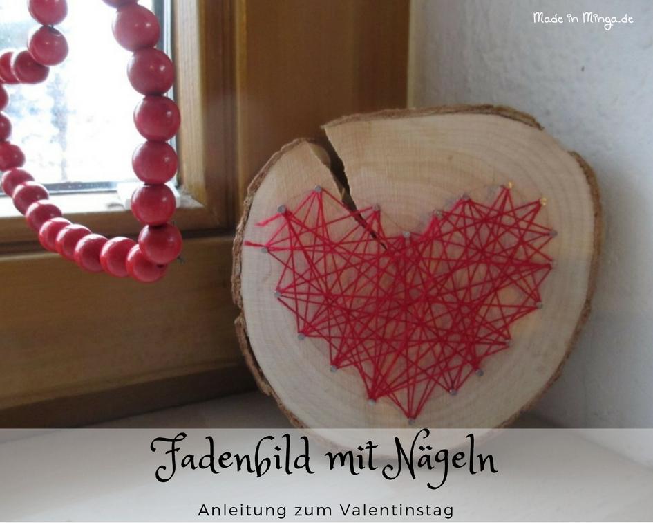 Fadenbild zum Valentinstag selber machen, Anleitung