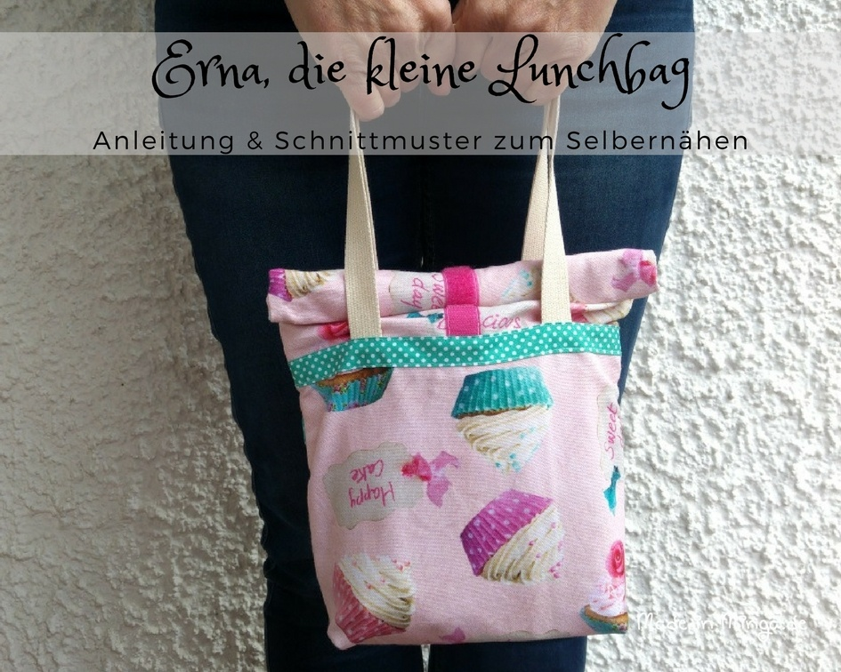 Kleine Lunchbag mit Henkeln. Kostenloses Schnittmuster und Anleitung