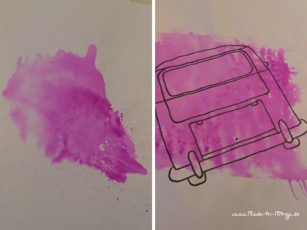 mit Tombow Stiften und Wasser einen Farbkleks machen