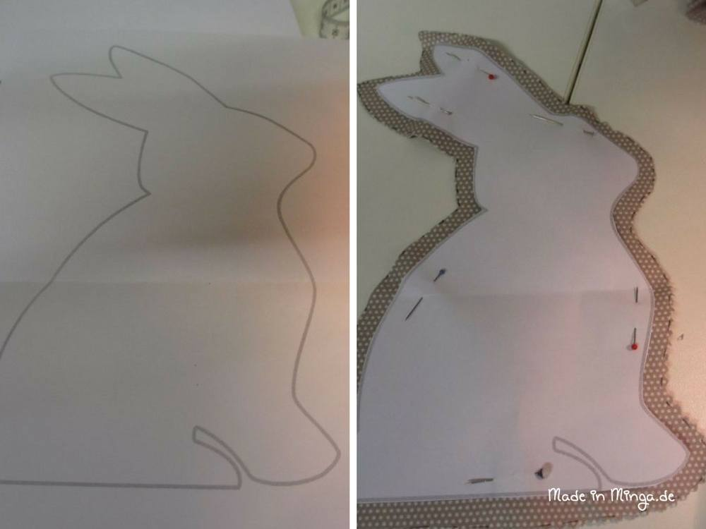 Osterhase Vorlage ausdrucken und aus Stoff ausschneiden