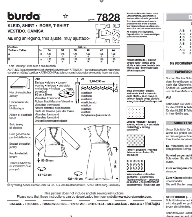 Burda 7828 Kleid in Wickeloptik