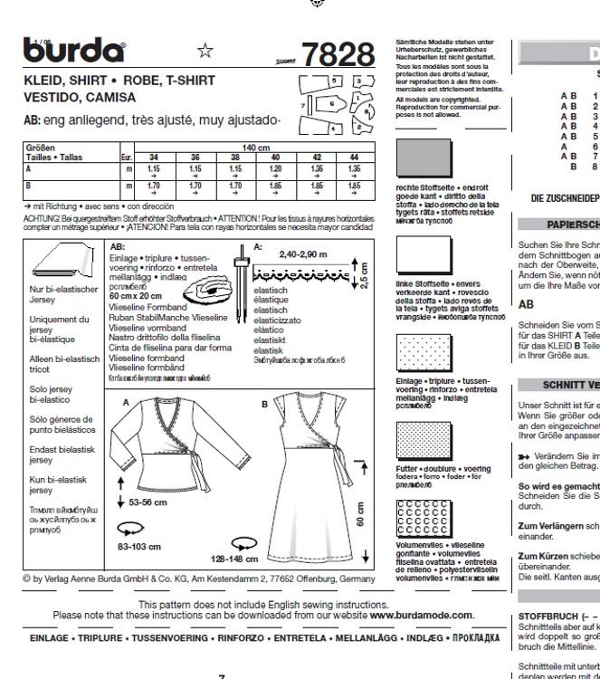 Burda 7828 Kleid in Wickeloptik