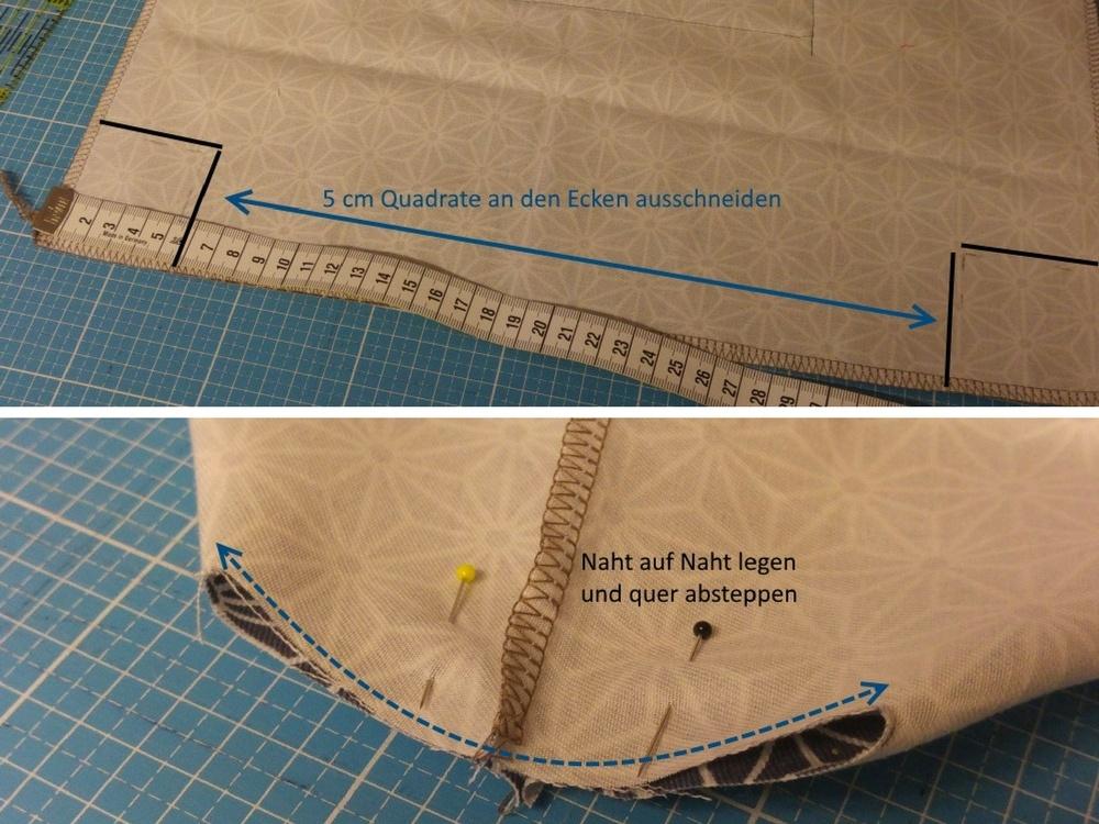 Boden in der Innentasche ausformen
