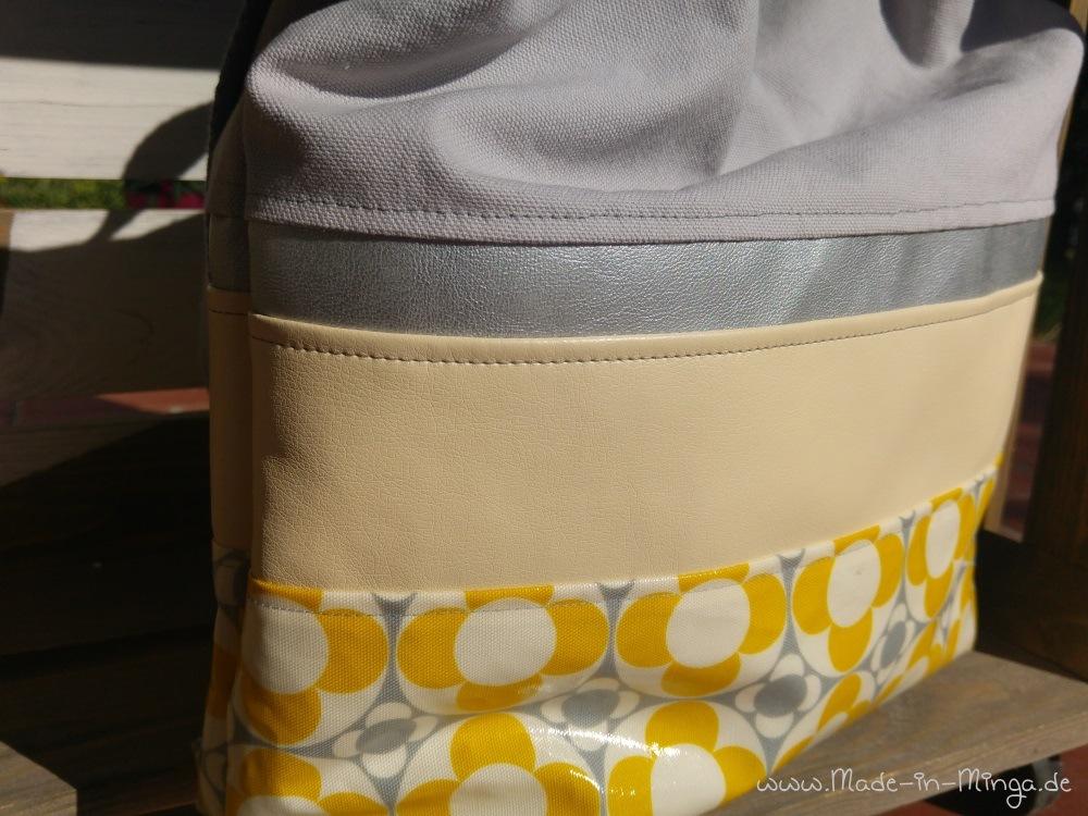 Anordnung der Stoffe in der Außentasche