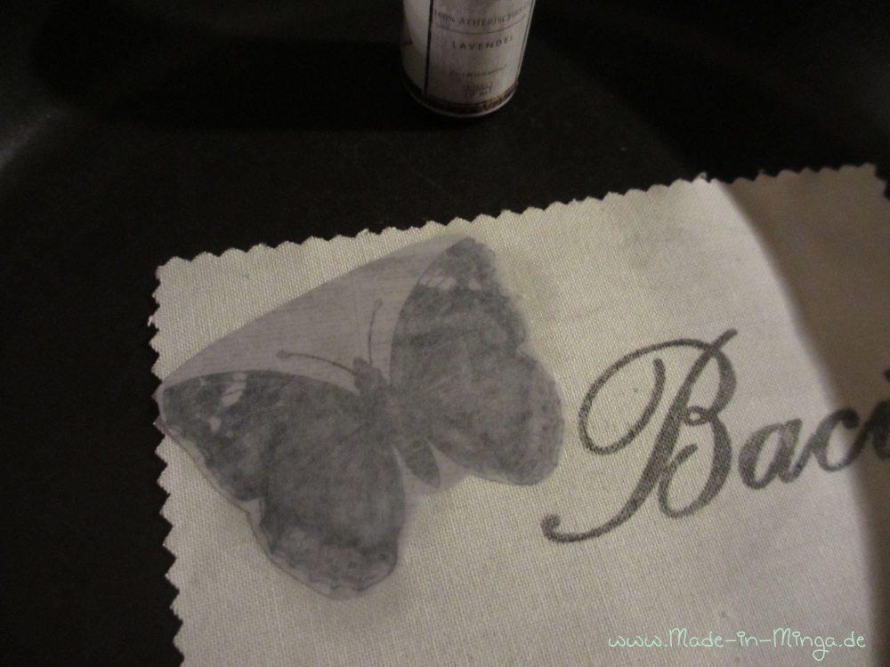 Schmetterlin Motiv in verschiedenen Schattierungen. Der Übertrag funktioniert auch ganz gut