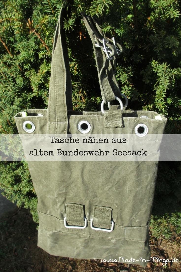 Tasche nähen aus alten Seesack der Bundeswehr