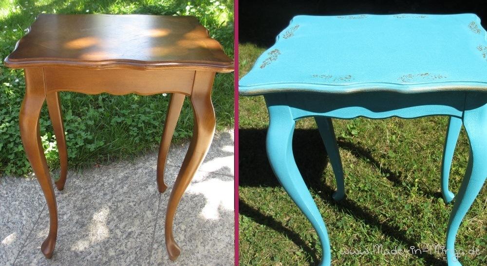 alten tisch restaurieren im shabby stil mit stempeln. Black Bedroom Furniture Sets. Home Design Ideas