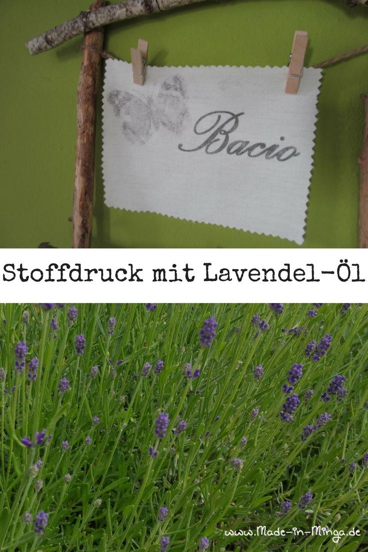 Lavendelöl-Druck auf Baumwolle