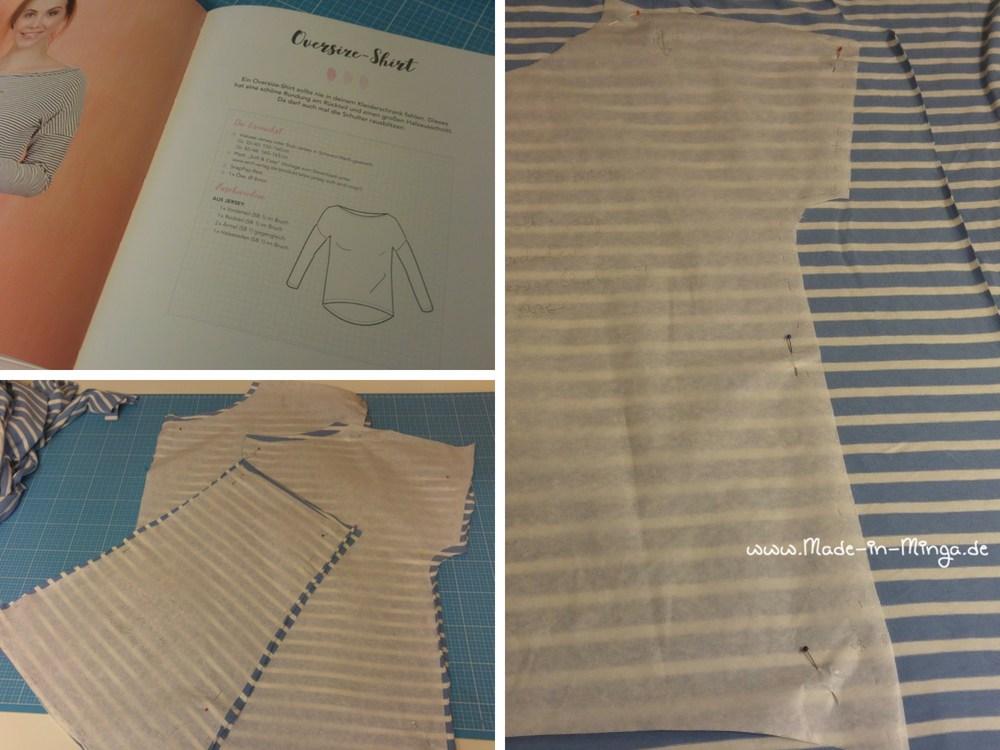 Streifenstoff wird zu Oversize-Shirt vernäht