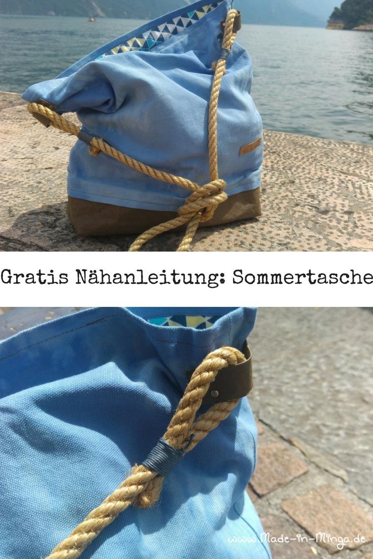 Sommertasche mit Snappap Boden und Sisal-Tau als Schultergurt
