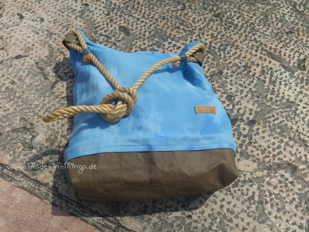 fertige Sommertasche mit Snappap Boden und Sisal Schultergurt, gratis Nähanleitung