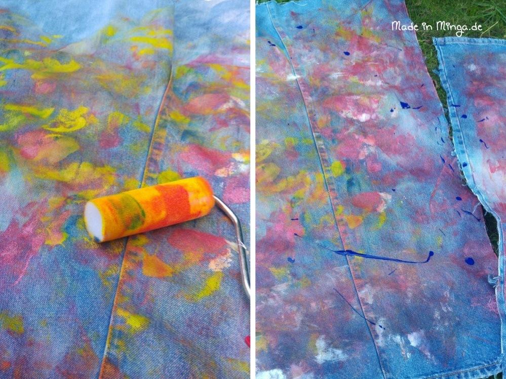 Mit textilfarbe auf alter Jeans malen