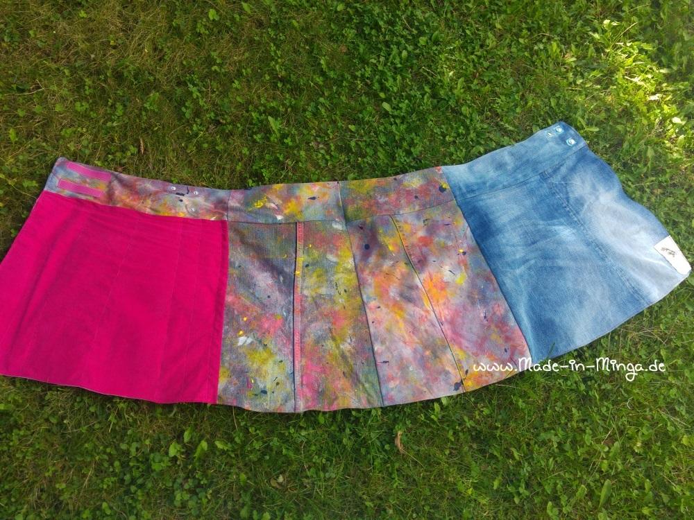 Fertiger Wickelrock aus alter Jeans genäht