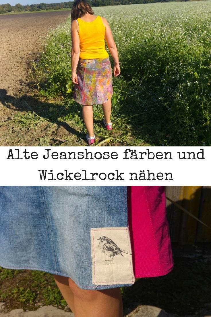alte Jeans färben und Wickelrock nähen