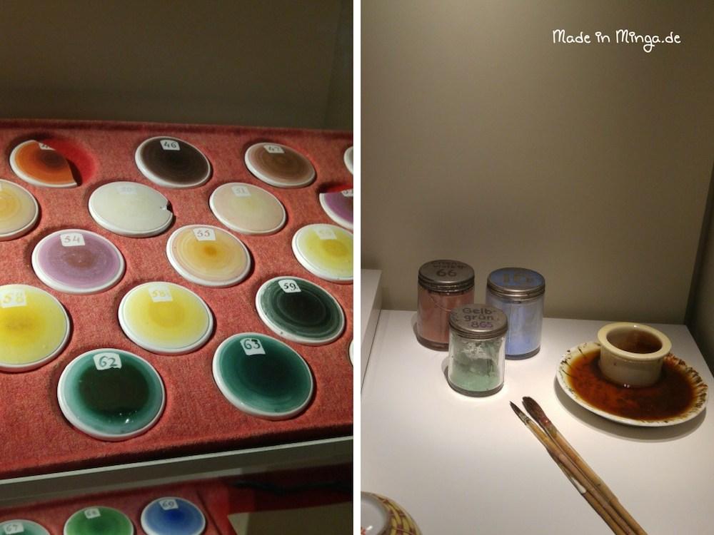 Farbpalette und Farben zum Bemalen von Porzellan