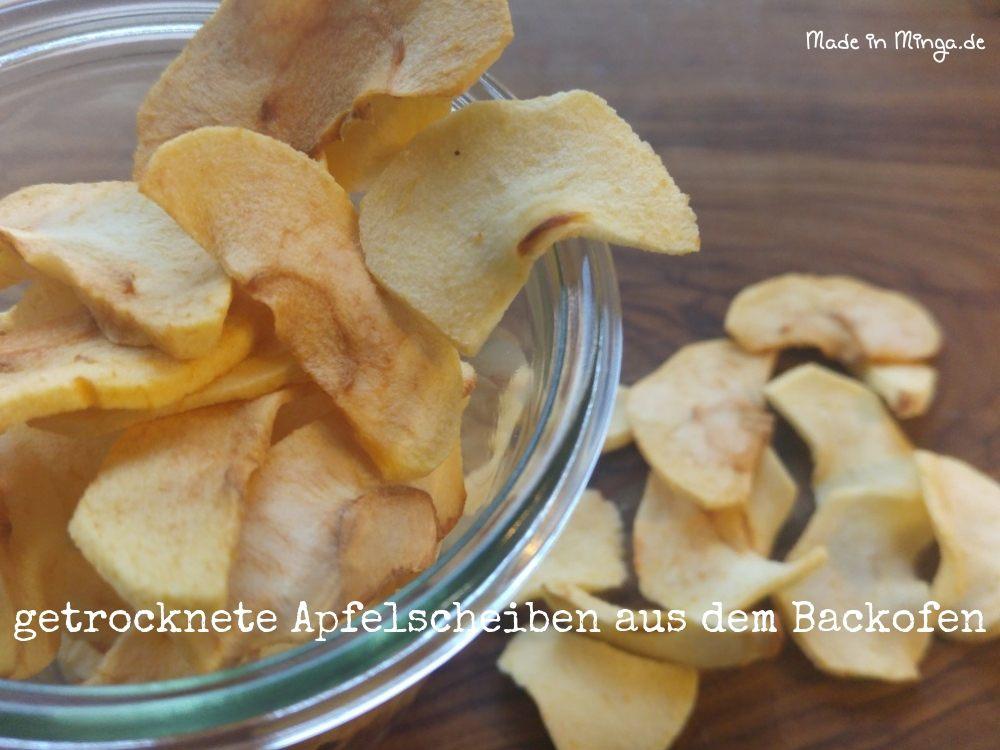 getrocknete Apfelscheiben aus dem Backofen