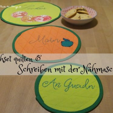 Untersetzer quilten und mit Freihand Stickerei verzieren