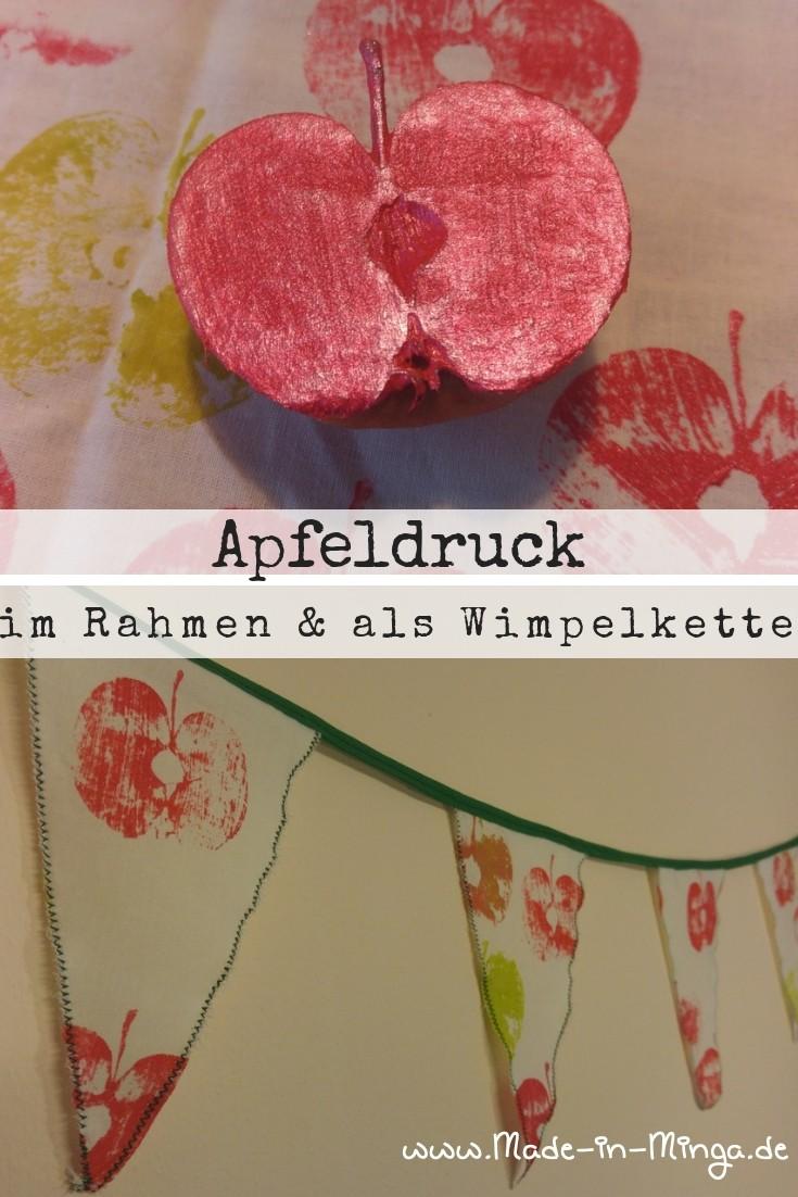 Apfeldruck auf Stoff für eine Wimpelkette und Apfel im Stickrahmen