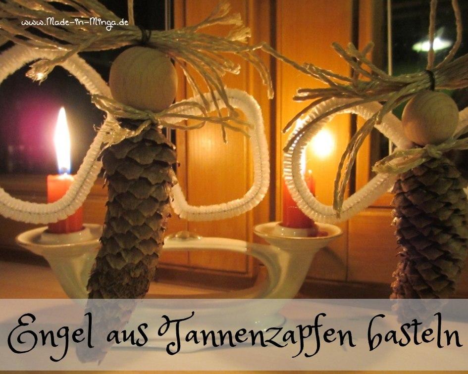 weihnachtlichen Engel aus Tannenzapfen basteln