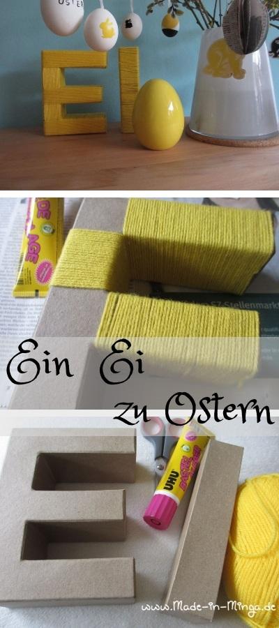 Osterdeko mit Wolle und Pappbuchstaben basteln