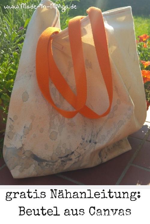 Beutel / tasche selber nähen. Grosse Einkaufstasche aus gefärbtem Canvas