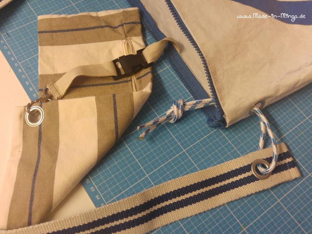 Innentasche und Gurtband an Segeltasche - www.made-in-minga.de