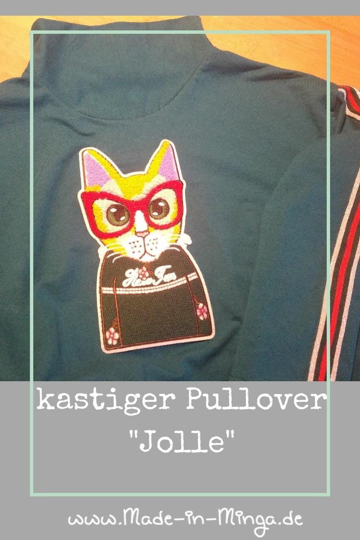 Cropped Pullover Jolle mit Aufnäher Katze